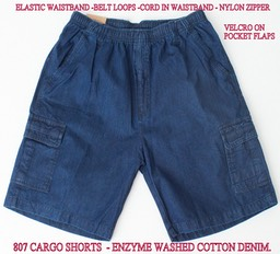 807 (FRONT)  ENZYME WASHED COTTON DENIM CARGO SHORTS