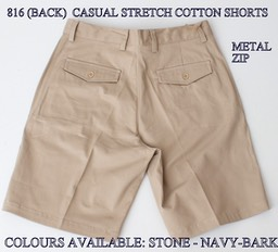 816 (BACK VIEW) CASUAL STRETCH COTTON SHORTS