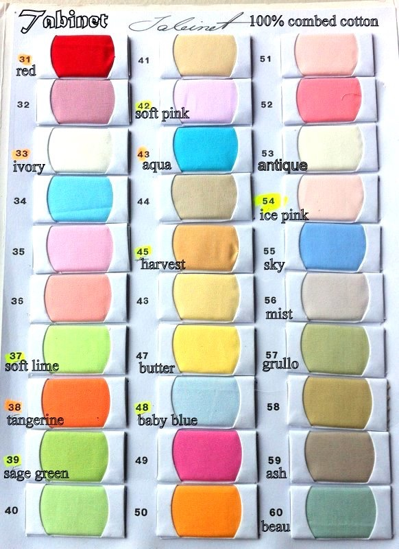 Tabinet colour card 31 to 60