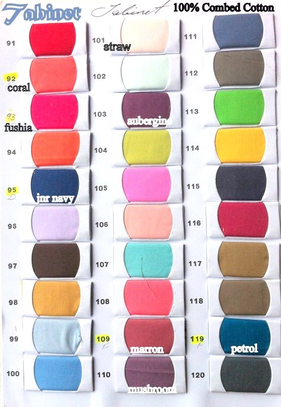 Tabinet colour card 91 to 120